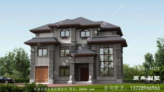 独特的三层新中式别墅效果图