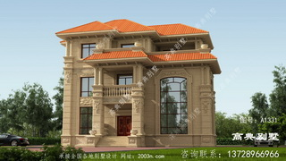 欧式风格三层石材别墅设计装修效果图