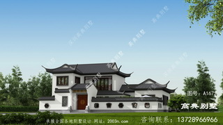 农村两层苏式园林风格庭院式别墅